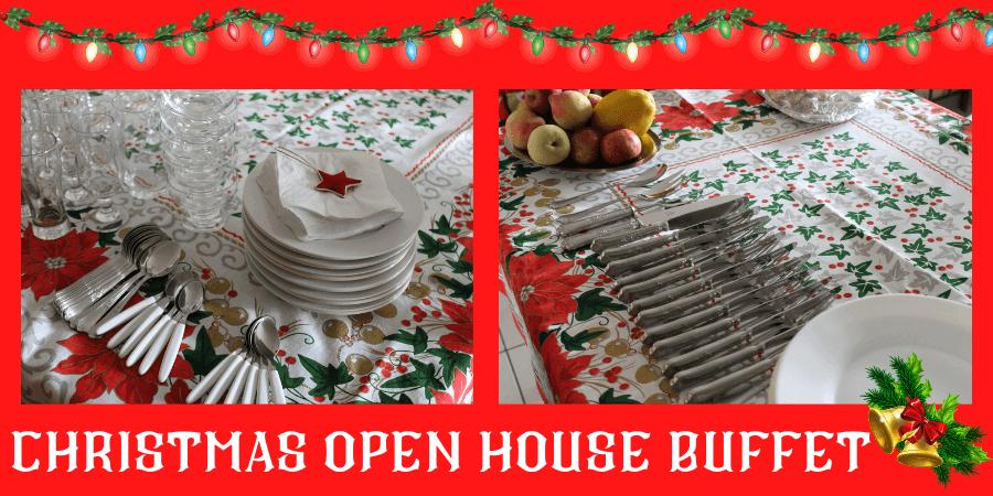 christmas open house buffet table