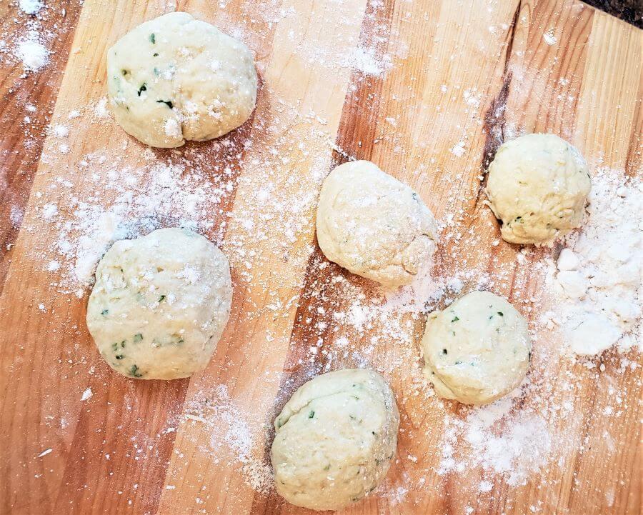 no yeast cilantro oil flatbread dough balls