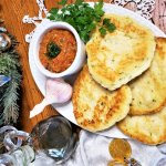 moroccan zaalouk dip with flatbread