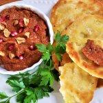 Turkish muhammara dip with flatbread