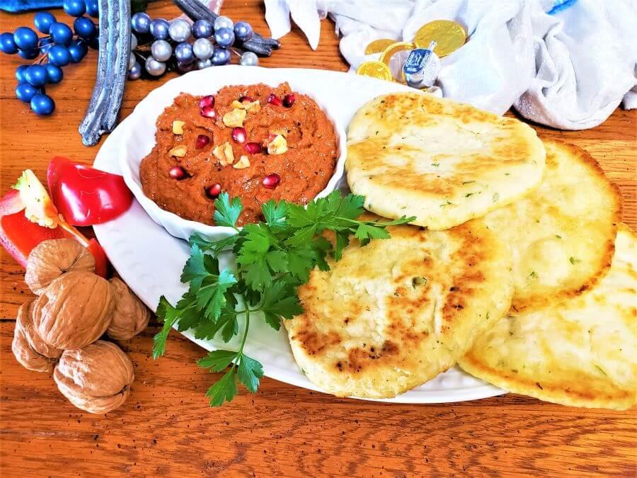 mahummara dip with no yeast cilantro oil flatbread