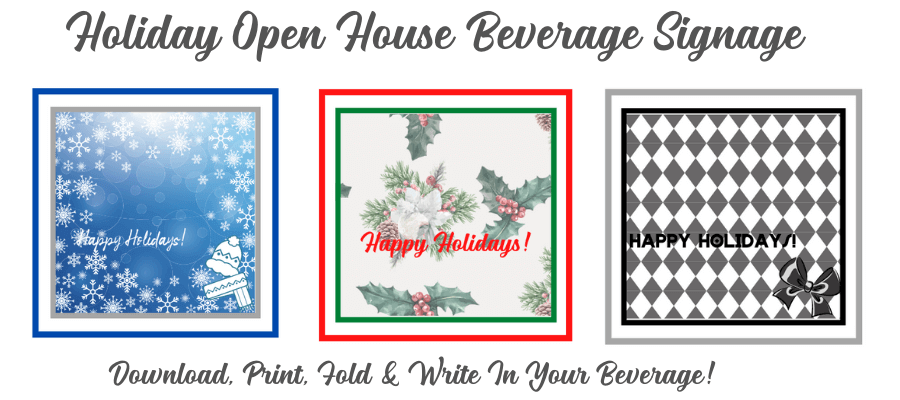 holiday open house beverage signage