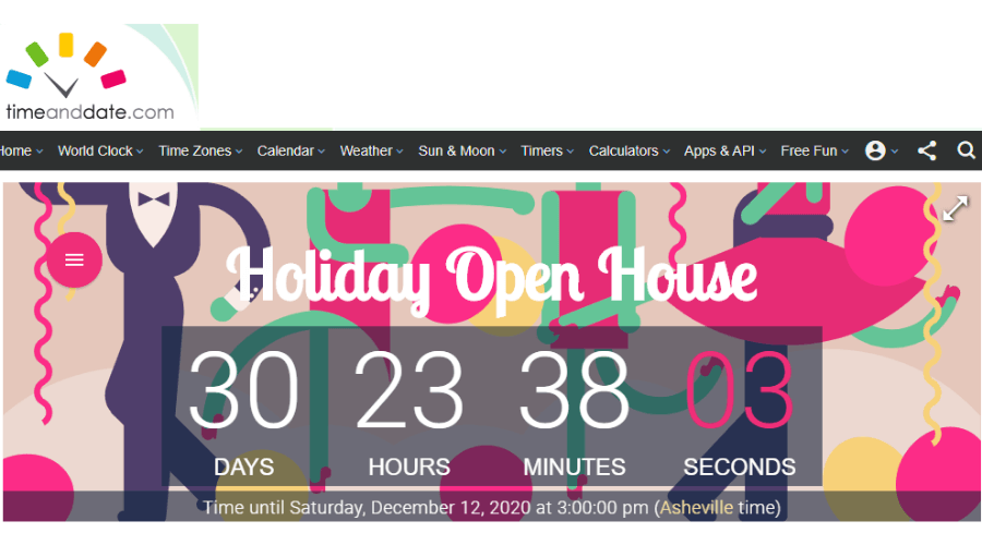 holiday open house email invitation countdown timer