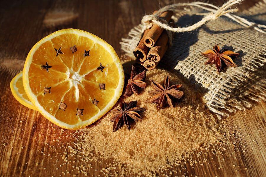 whole spices and citrus halves