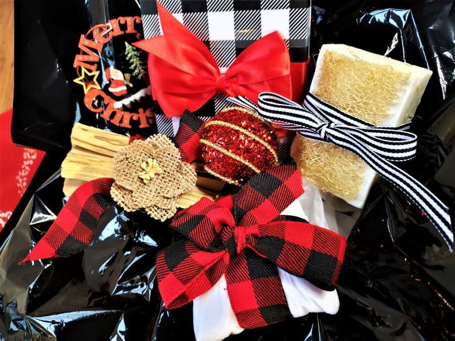 perfectly pampered presents in black red and white Christmas decor