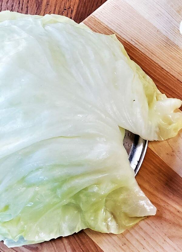 cabbage leaves on upside down bowl