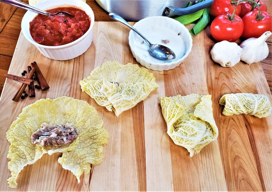 how to assemble middle eastern stuffed cabbage rolls