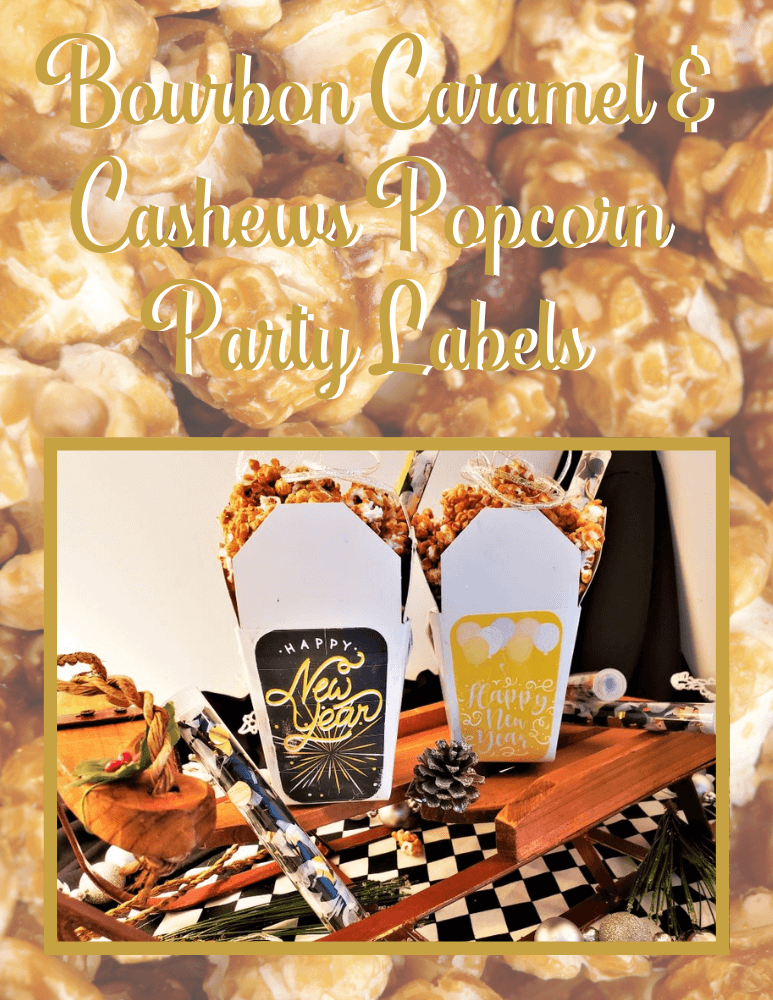 bourbon caramel & cashews popcorn labels