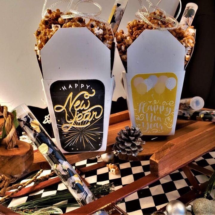 bourbon caramel and cashew popcorn with maple bacon dust