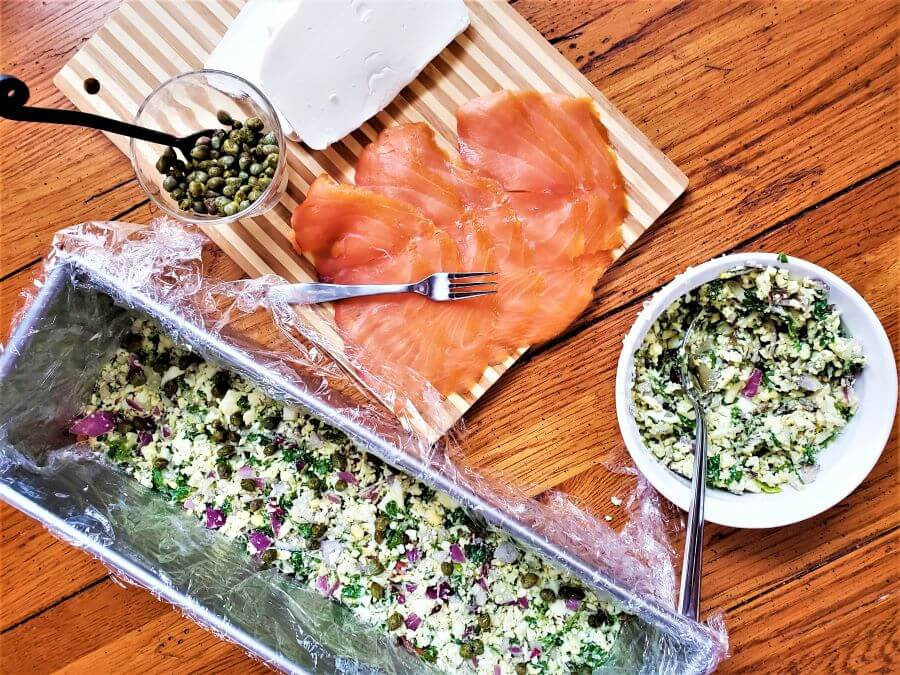 assembling smoked salmon torte