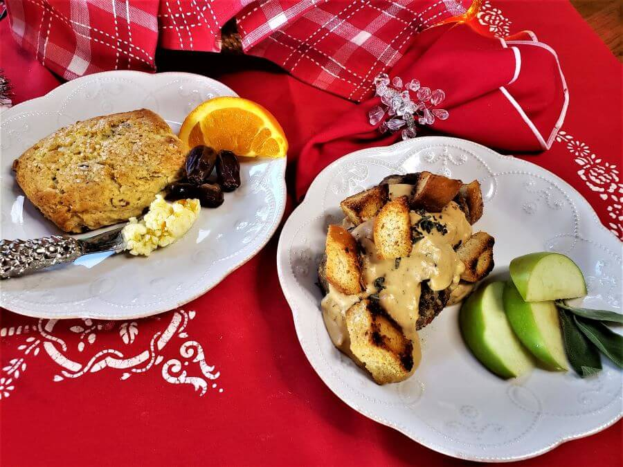 orange date scone with apple sage sausage with caramelized onion sauce