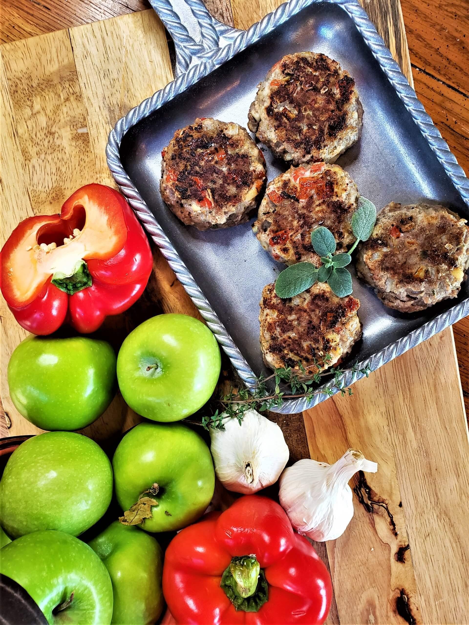 apple sage sausages on plate