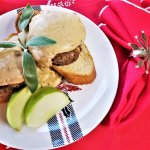 apple sage sausage with caramelized onion cream sauce on toast