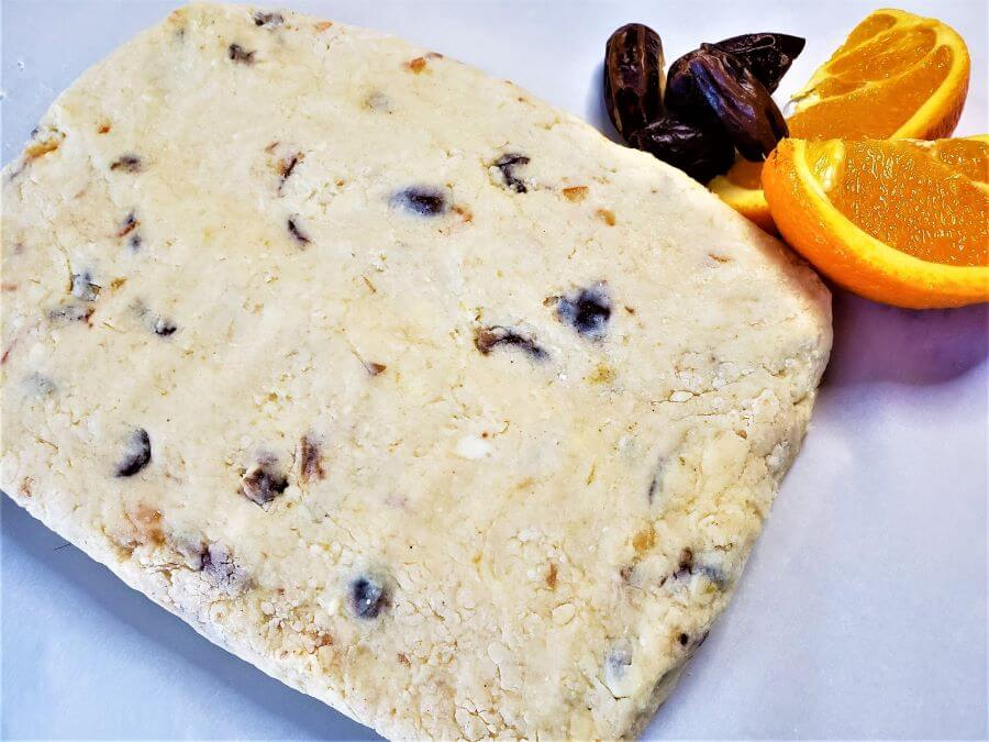 orange date scones dough rectangle