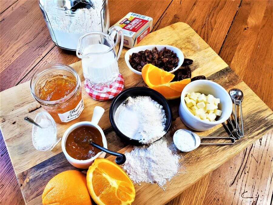 ingredients for orange date scones
