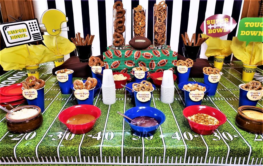 pretzel dipping bar with super bowl printables