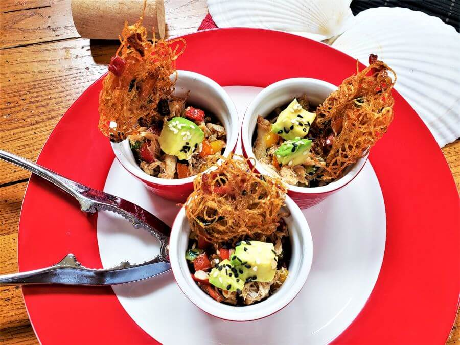 spicy crab poke with fried noodle cakes