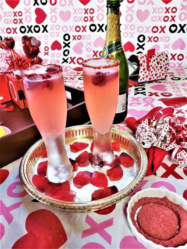 double raspberry champagne cocktail