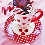 chocolate dipped glitter heart cake in valentine's mug