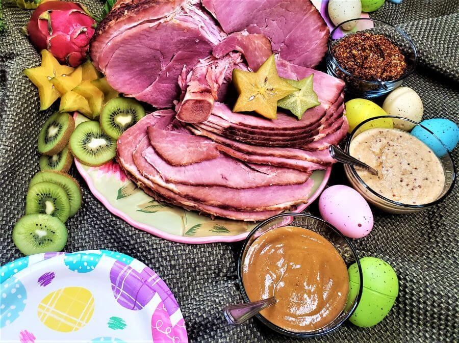 baked ham with three mustards