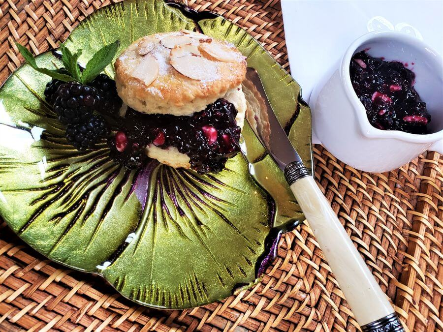 filled almond scone with berry and white chocolate jam