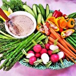 spring vegetable platter with ham butter
