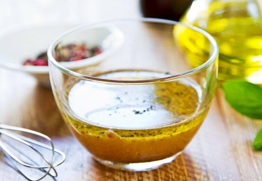 zesty Italian vinaigrette in glass bowl