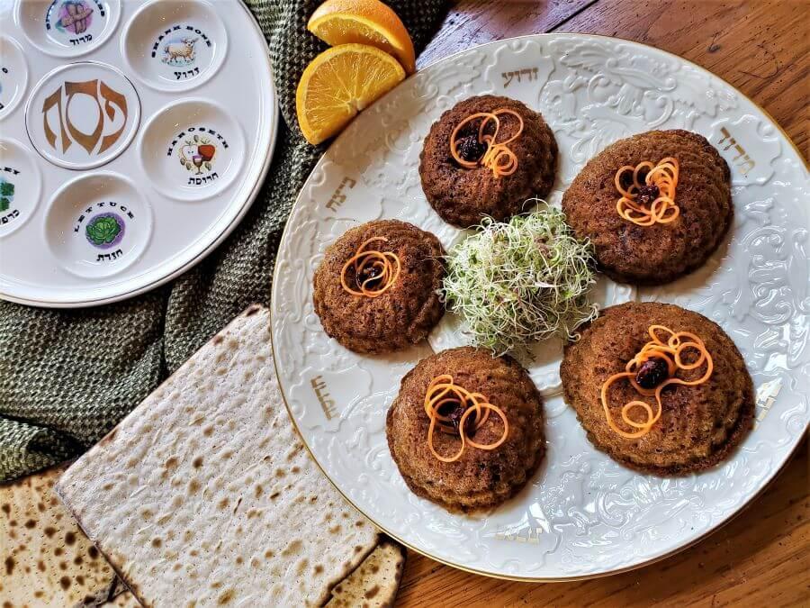Passover apricot carrot cakelets on seder platter