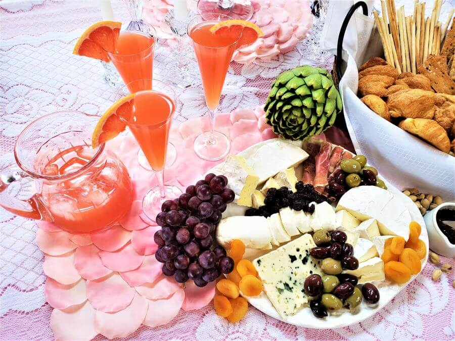 pink grapefruit wine spritzers with French cheeses