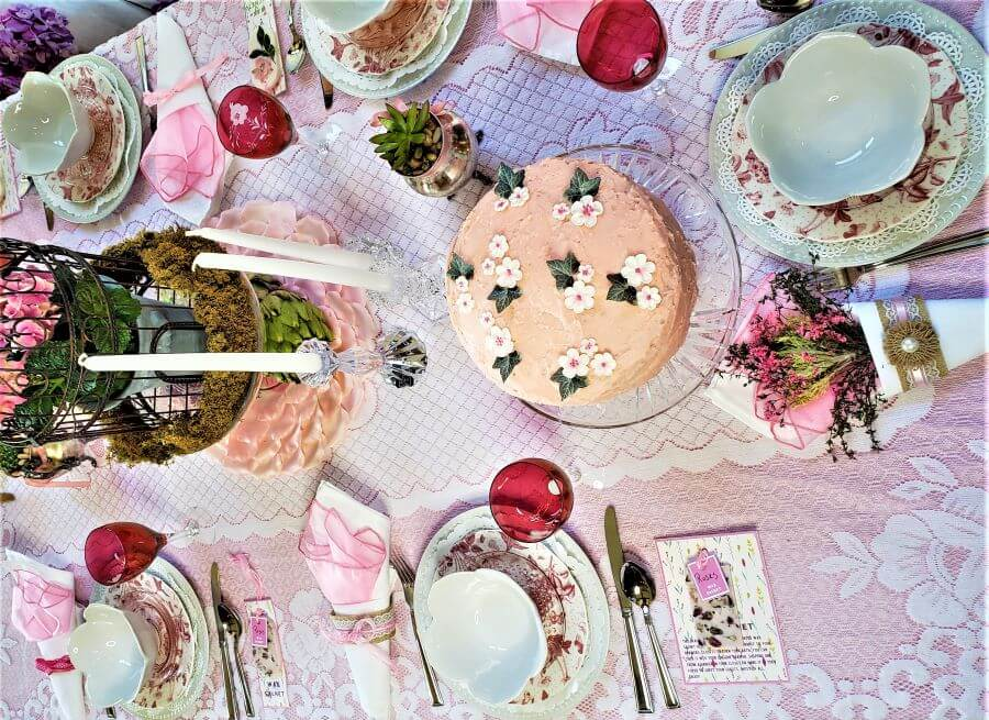 mother's day luncheon tablescape