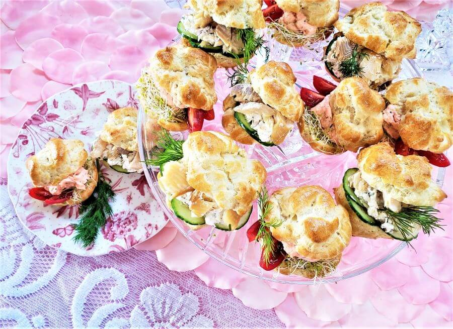 choux pastry puffs with savory fillings