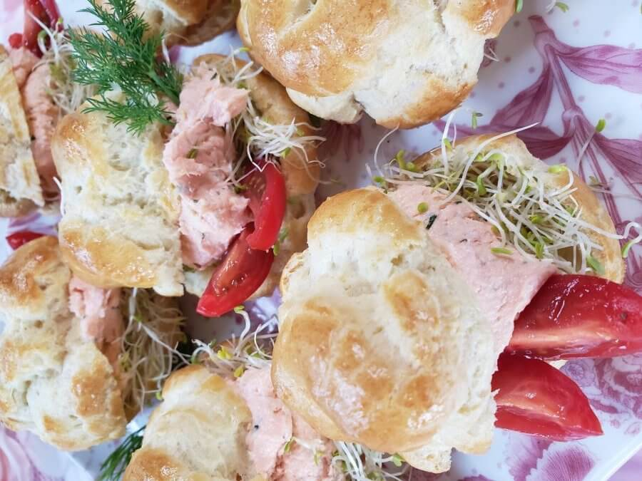 salmon dill mousse in choux pastry puffs