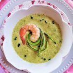 cold asparagus soup with roasted shrimp