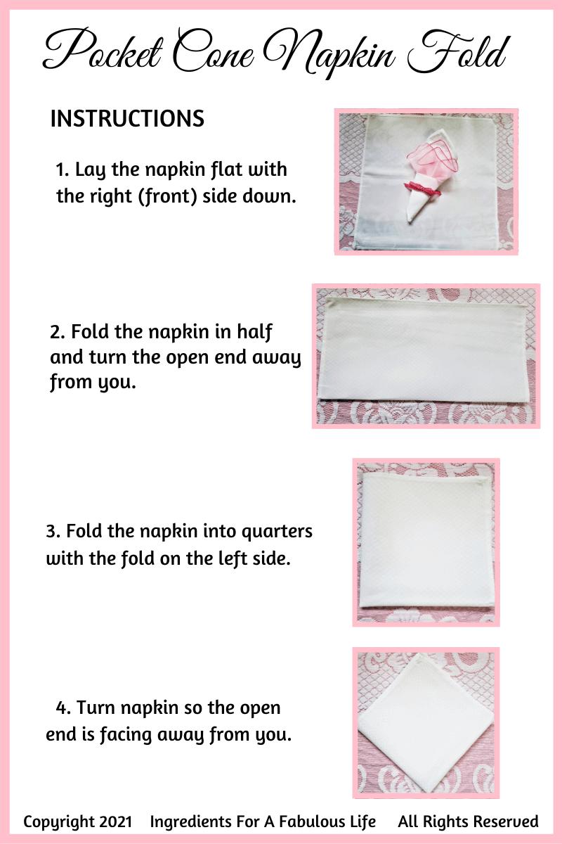 pocket cone napkin fold instructions