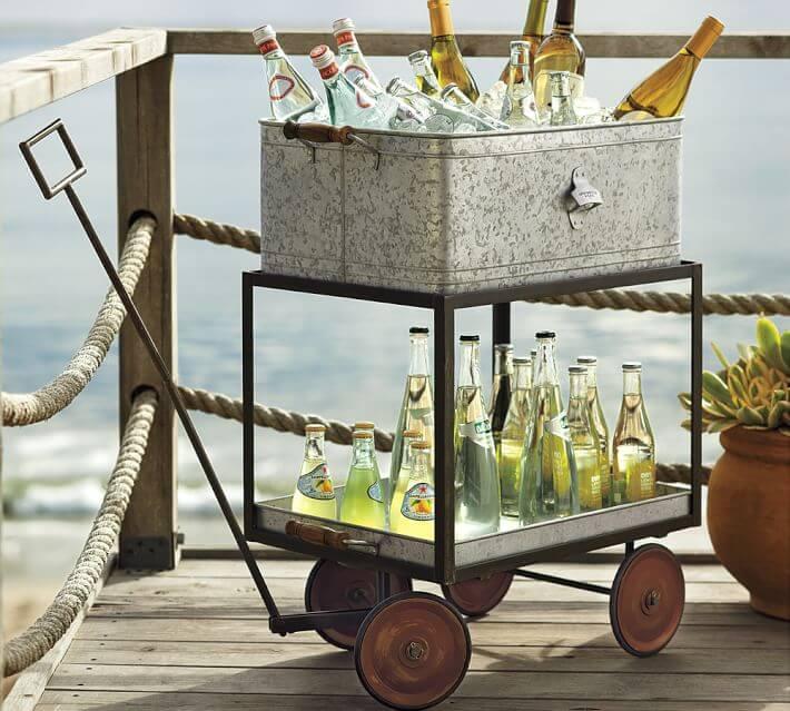 galvanized metal wagon beverage cart