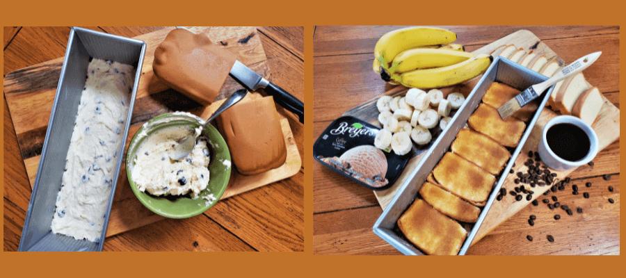 layering process frozen coffee banana torte