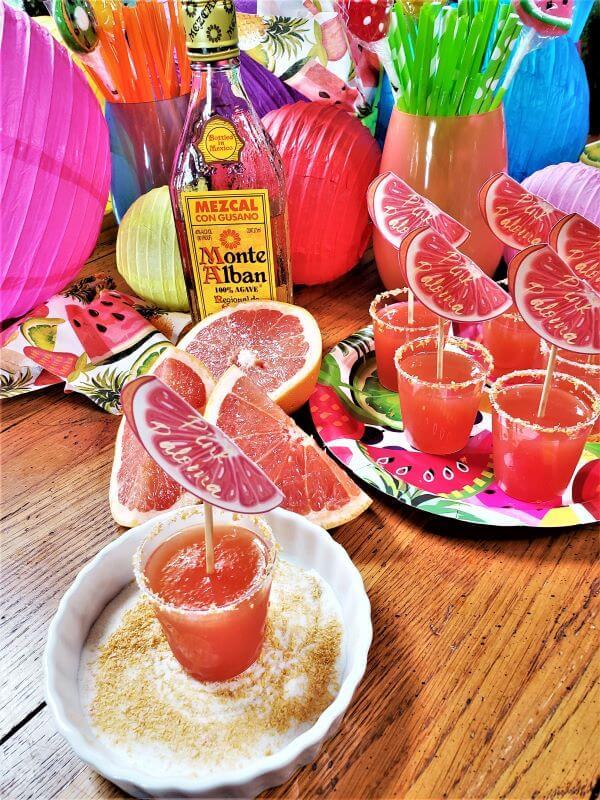 pink paloma jello shots with grapefruit sugar rims