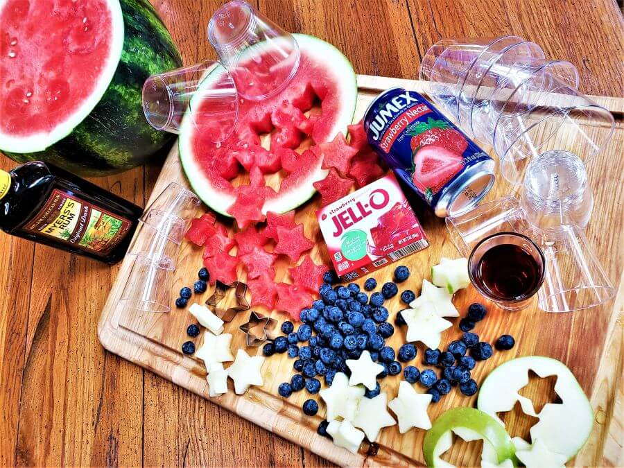 ingredients for patriotic strawberry daiquiri jello shooters