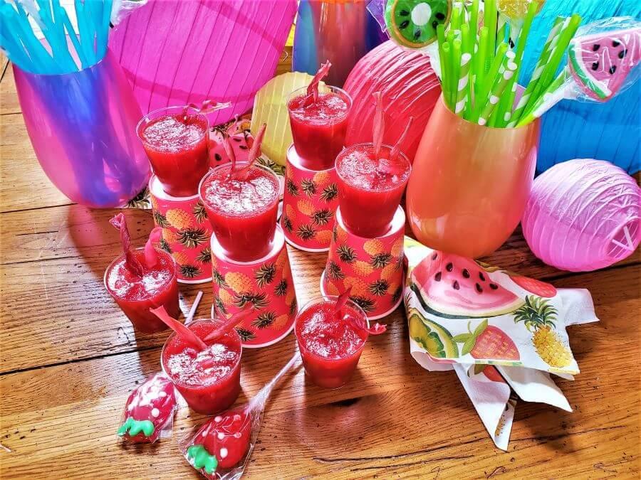boozy strawberry rhubarb shooters