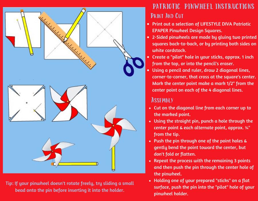 instructions for making patriotic pinwheels