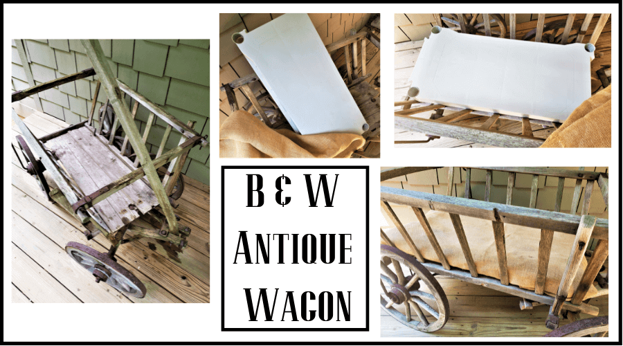 black and white front porch antique wagon