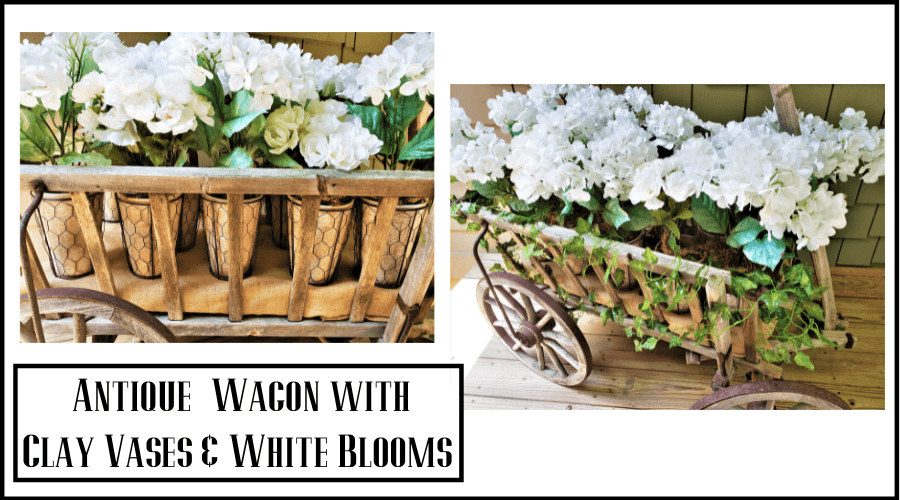 antique wagon filled with white flowers