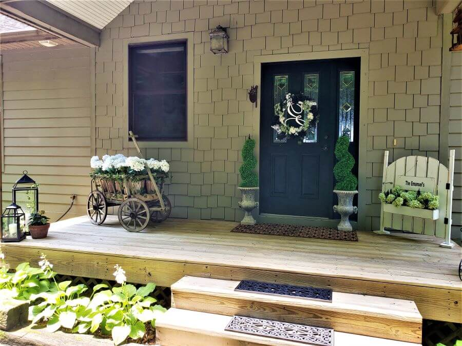 black and white front porch