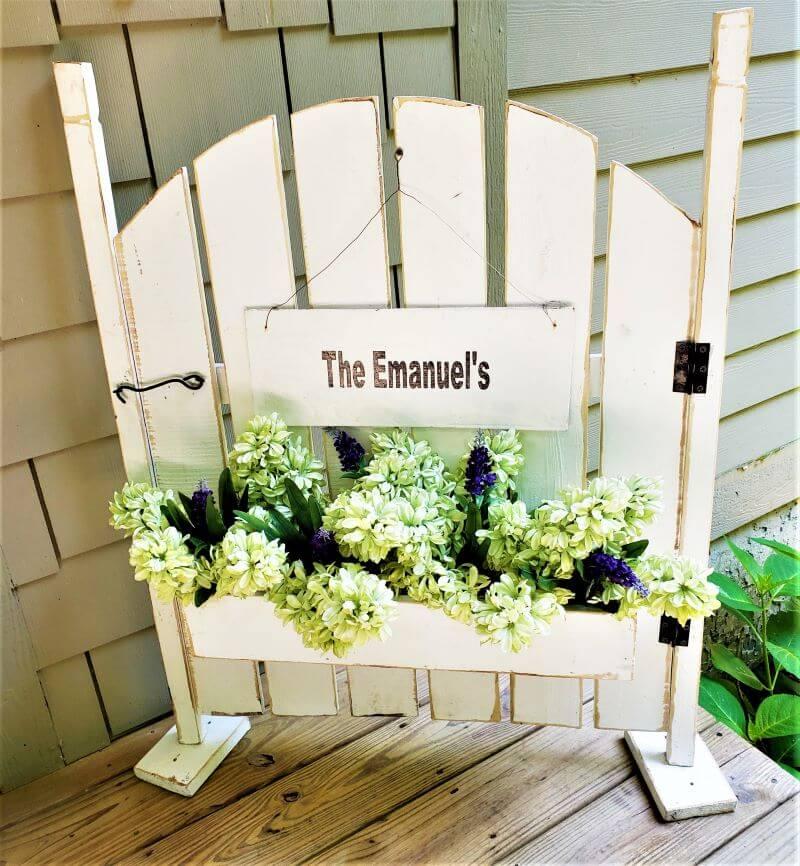 freestanding white garden gate decoration