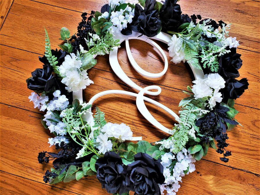 black and white front door wreath