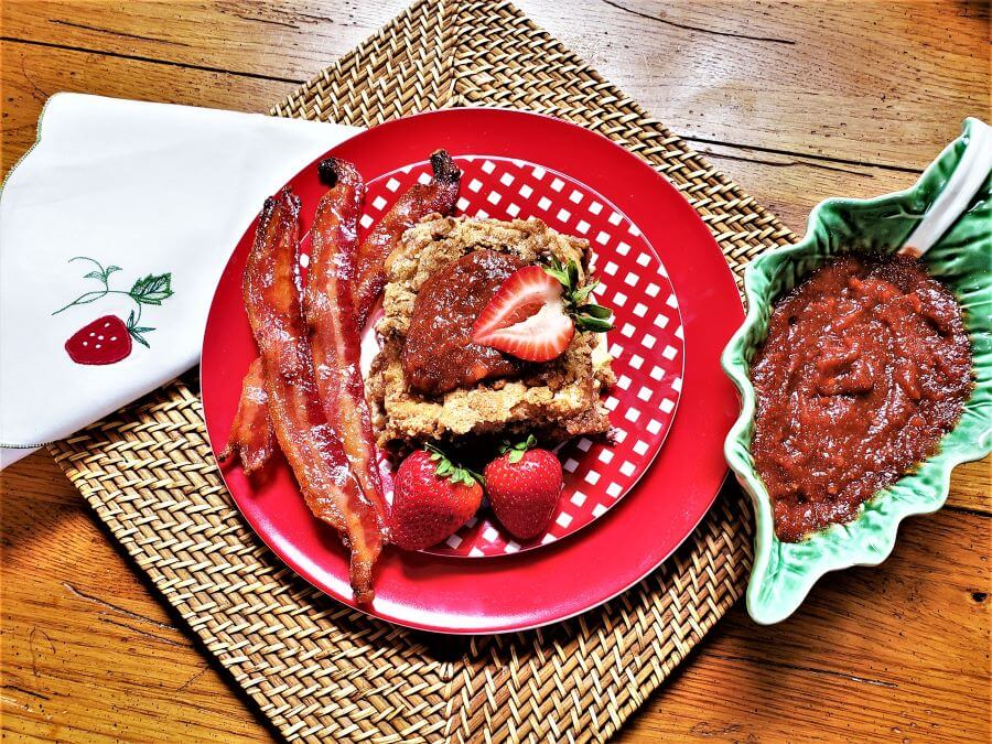 stuffed strawberry french toast bake with brown sugar and cayenne bacon