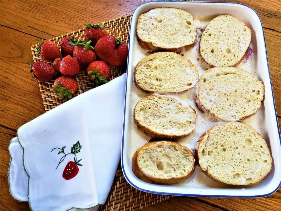 stuffed strawberry french toast bake