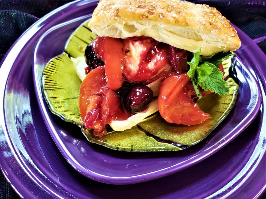 roasted stone fruits and ice cream in puff pastry