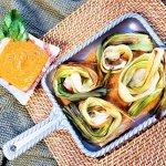 roasted leeks with Catalonian romesco sauce
