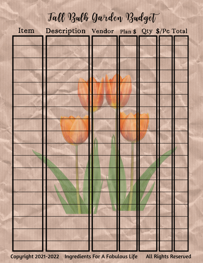fall bulb planting planner budge page